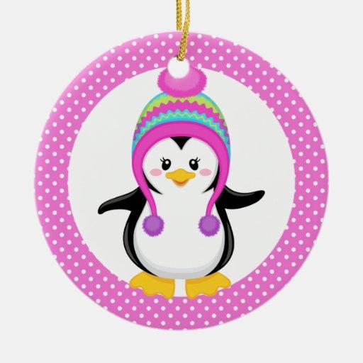 Pink Polka Dot Winter Penguin Girl Christmas Tree Ornament