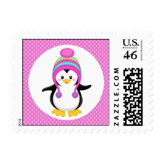 Pink Polka Dot Winter Penguin Girl Stamp