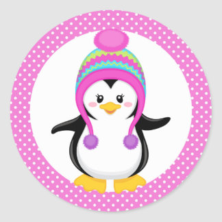 Pink Polka Dot Winter Penguin Girl Round Sticker
