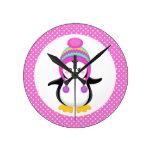 Pink Polka Dot Winter Penguin Girl Wall Clock