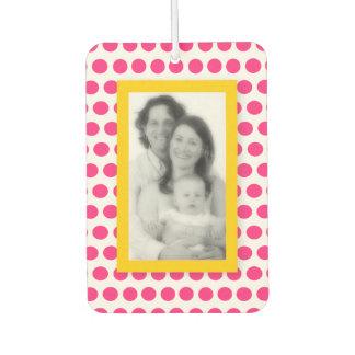 Pink Polka Dot with Lemon Yellow Framed Photo