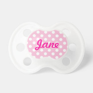 Pink Polka Dot with Name Baby Pacifier