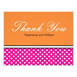 Pink Polka Dot With Orange Wedding Thank You Card