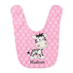 Pink Polka Dot Zebra Personalized Bibs