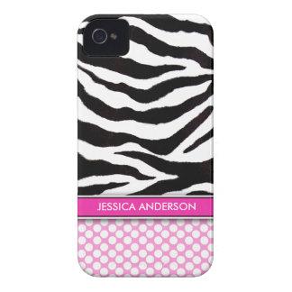 Pink Polka Dot Zebra Stripe iPhone 4 Case-Mate