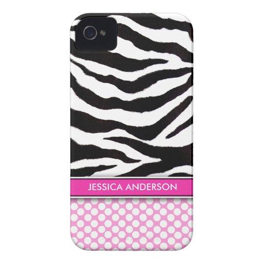 Pink Polka Dot Zebra Stripe iPhone 4 Case-Mate iPhone 4 Case-Mate Case