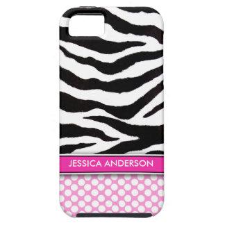Pink Polka Dot Zebra Stripe iPhone 5 Case-Mate iPhone 5 Cover