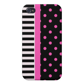 pink polka dots and B&W strips iPhone 4 Case