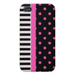 pink polka dots and B&W strips iPhone 4 Covers