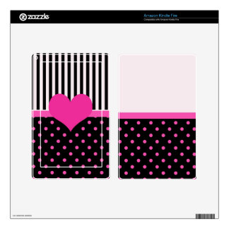 pink polka dots and B&W strips Kindle Fire Decals