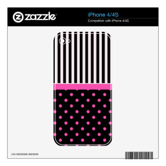pink polka dots and B&W strips Skins For iPhone 4S