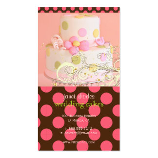 Pink polka dots and Chocolate Bakery/pâtisserie Business Card