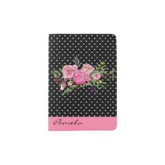 Pink Polka Dots and Flowers Passport Holder