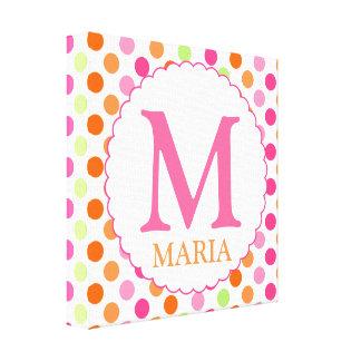 Pink Polka Dots and Initial Wall Decor Canvas Print