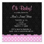 Pink Polka Dots and Lace Girl Baby Shower Personalized Announcements