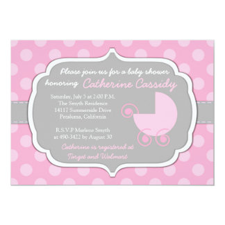 Pink Polka Dots Baby Girl Baby Shower Invitation