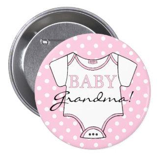 Pink Polka Dots Baby Grandma Pinback Button