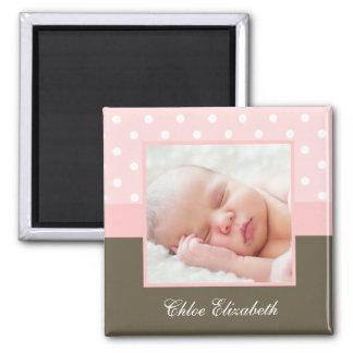 Pink Polka Dots Baby Photo Frame Magnet