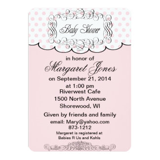 Pink Polka Dots Baby Shower Invitation customize