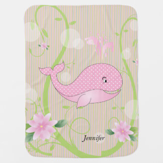 Pink Polka Dots Baby Whale Baby Blanket