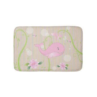 Pink Polka Dots Baby Whale Bathroom Mat