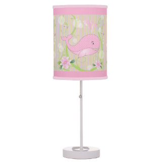 Pink Polka Dots Baby Whale Table Lamp