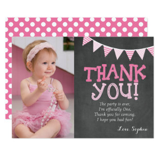 Pink Polka Dots Birthday Thank You Card
