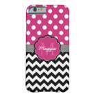 Pink Polka Dots Black Chevron Monogram Barely There iPhone 6 Case