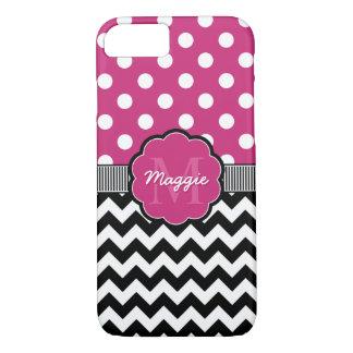 Pink Polka Dots Black Chevron Monogram iPhone 7 Case