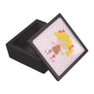 Pink Polka Dots Blonde Roller Skating Jewelry Box