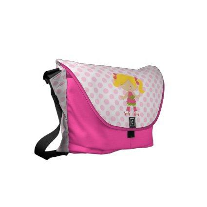 Pink Polka Dots Blonde Roller Skating Messenger Bags