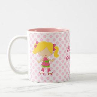 Pink Polka Dots Blonde Rollerskating Diva Mug