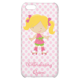 Pink Polka Dots Blonde Rollerskating Queen Cover For iPhone 5C