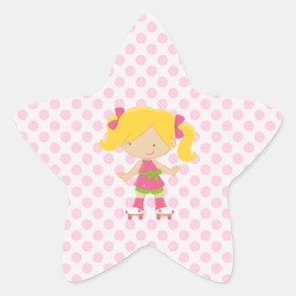 Pink Polka Dots Blonde Rollerskating Superstar Star Sticker