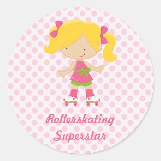 Pink Polka Dots Blonde Rollerskating Superstar Sti Classic Round Sticker