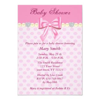 "Pink Polka Dots Bow Baby Shower Invitation 5"" X 7"" Invitation Card"