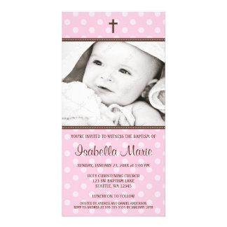 Pink Polka Dots Brown Cross Baptism Photo Card