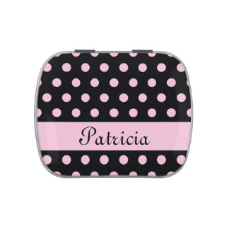 Pink Polka Dots Jelly Belly Candy Tins