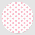 Pink Polka Dots Classic Round Sticker