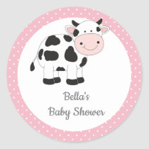 Pink Polka Dots Cow Stickers