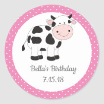 Pink Polka Dots Cowgirl Birthday Stickers