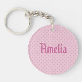 Pink Polka Dots Custom Name G300 Double-Sided Round Acrylic Keychain
