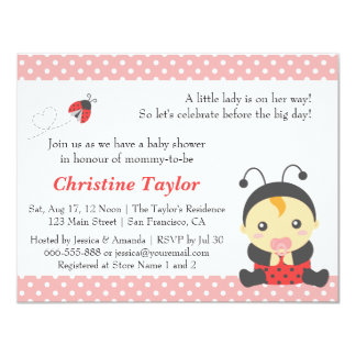 Pink Polka Dots Cute Ladybug Girl Baby Shower Card