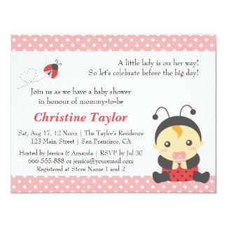 "Pink Polka Dots Cute Ladybug Girl Baby Shower 4.25"" X 5.5"" Invitation Card"