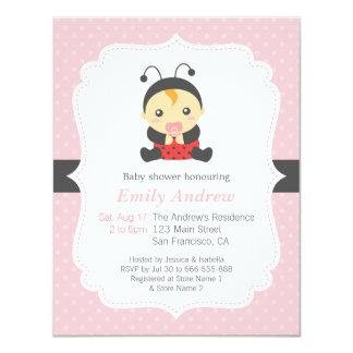 Pink Polka Dots Cute Ladybug Girl Baby Shower 4.25x5.5 Paper Invitation Card