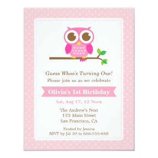 Pink Polka Dots Cute Owl Birthday Party 4.25x5.5 Paper Invitation Card