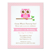 Pink Polka Dots Cute Owl Birthday Party Card