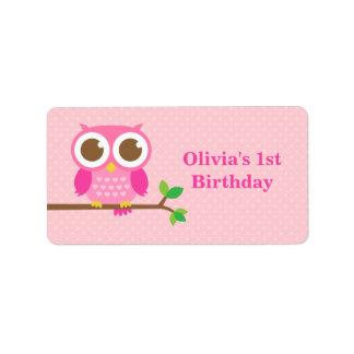 Pink Polka Dots Cute Owl Birthday Party Custom Address Label