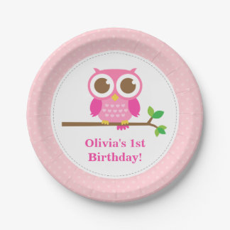 Pink Polka Dots Cute Owl Birthday Party 7 Inch Paper Plate
