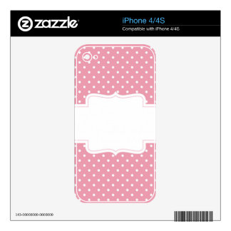 Pink Polka Dots Delicate Bridal or Baby Shower iPhone 4S Decal